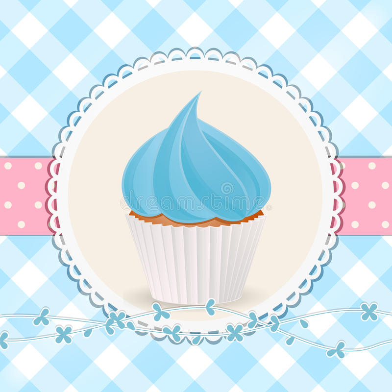 Cupcake with blue icing on blue gingham background vector illustration