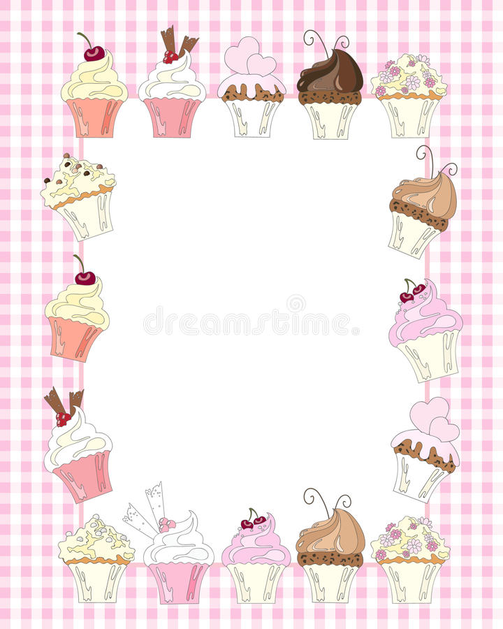 Cupcake border stock illustration