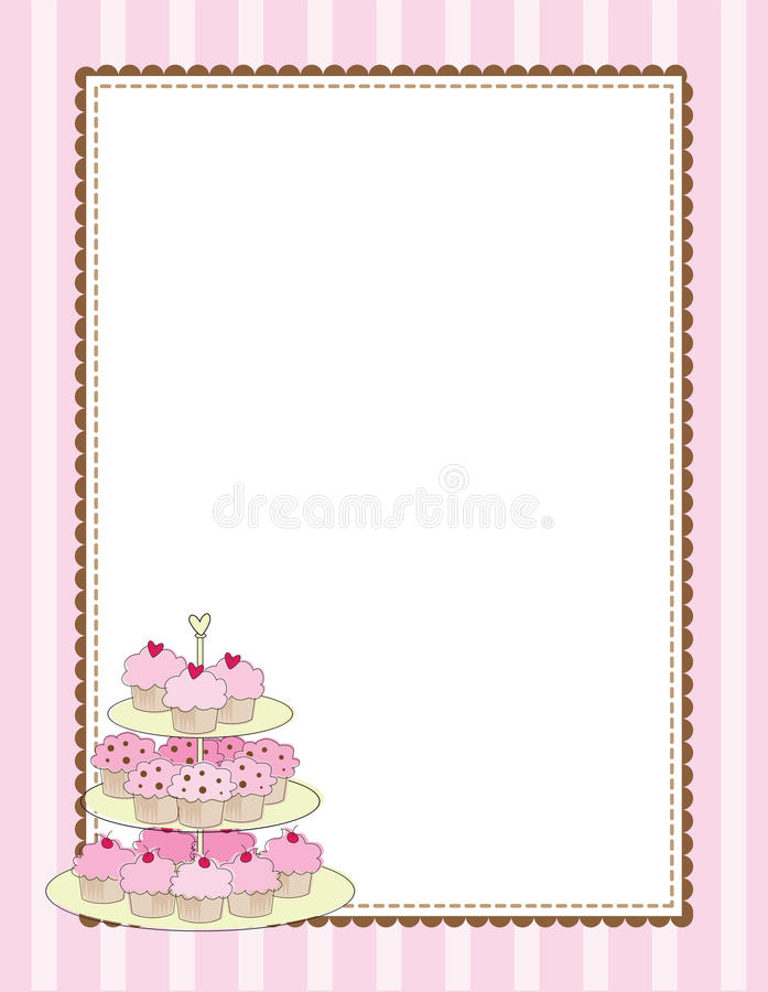 Cupcake Border Pink royalty free stock photos
