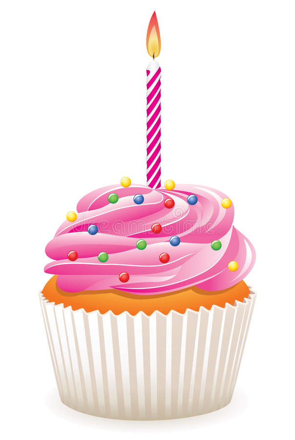Cupcake with burning candle royalty free stock photos