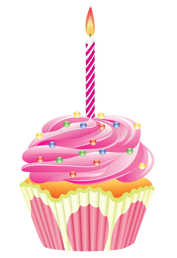 Cupcake with burning candle stock illustration