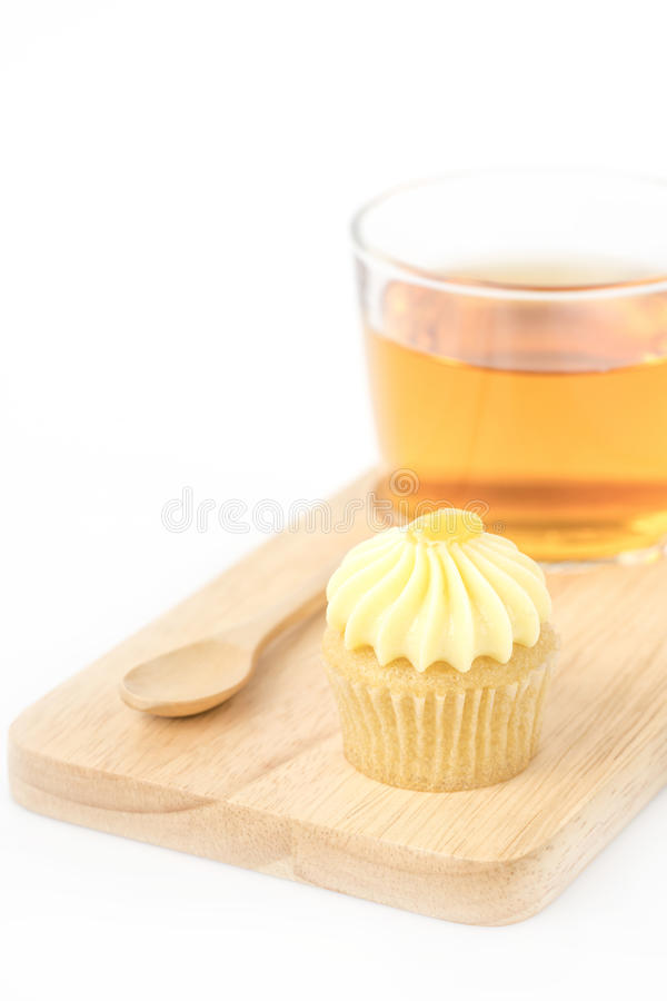 Cupcake with butter cream on white. Cupcake with butter cream on white background royalty free stock photo