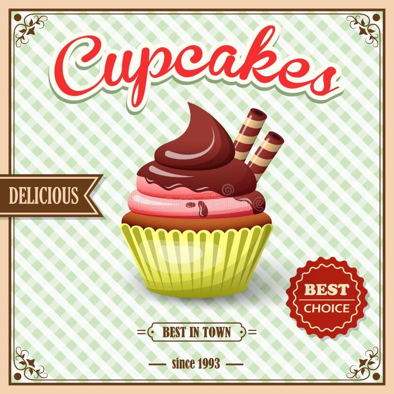 Cupcake cafe poster stock illustration