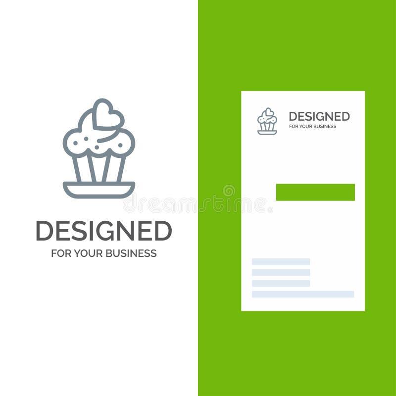 Cupcake, Cake, Liefde Grey Logo Design en Visitekaartjemalplaatje vector illustratie