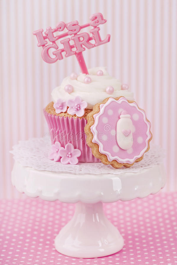 Cupcake With A Cake Pick Stock Photography