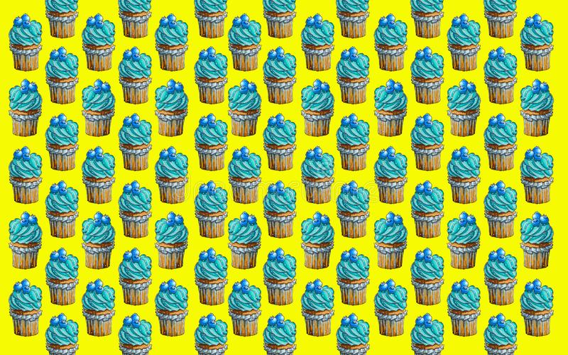 Culinary work. Cupcake, delicious cake. Blueberry flavor royalty free illustration