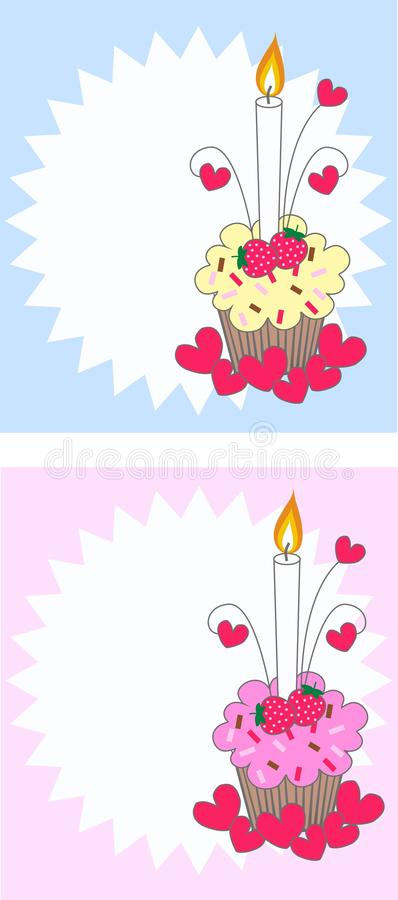 Cupcake with a candle royalty free stock image