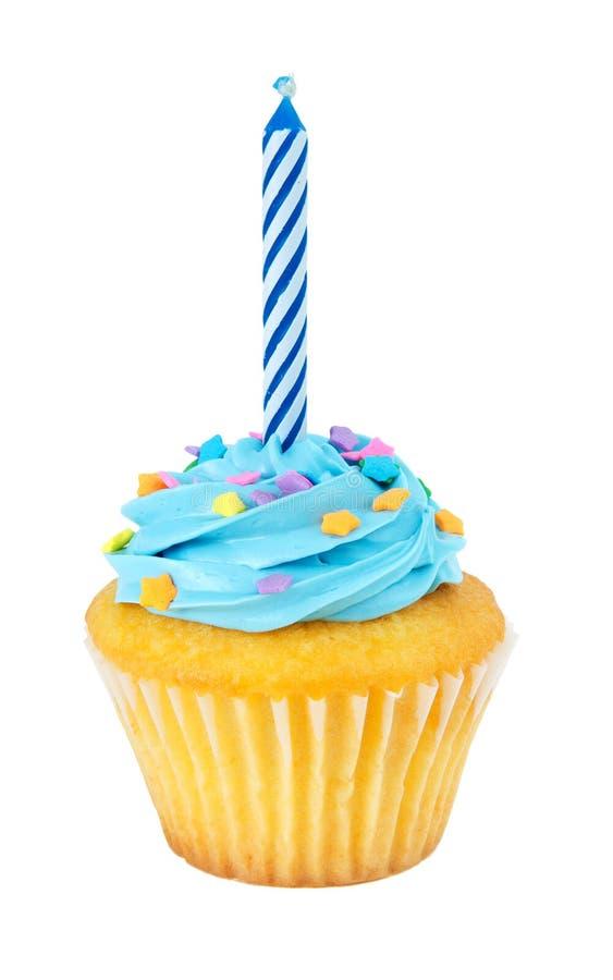 Cupcake With Candle stock photos