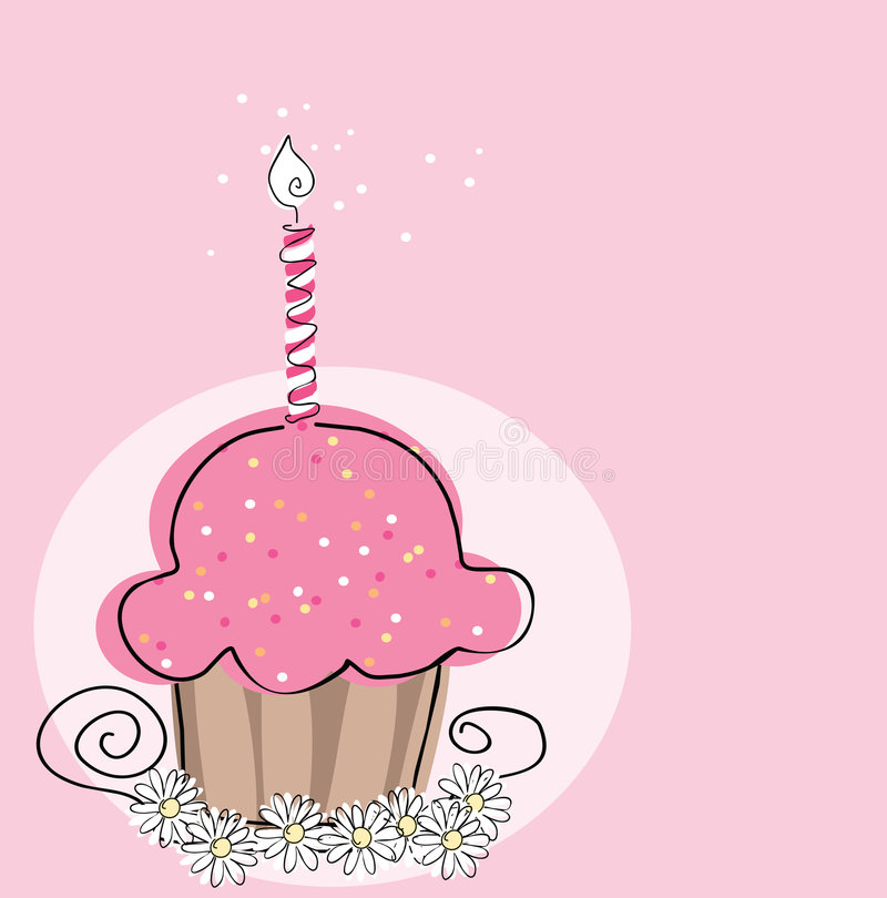 Cupcake with candle. Vector illustration of cupcake with candle on pink background stock illustration