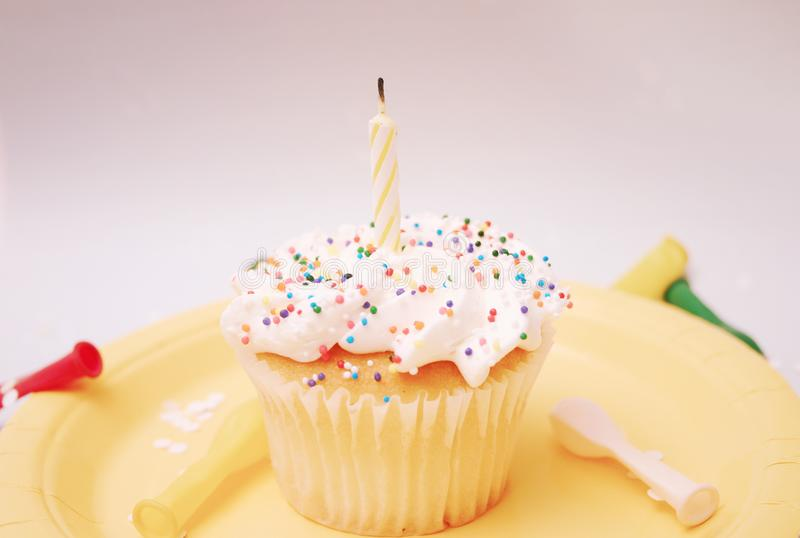 Cupcake With Candle Free Stock Photography