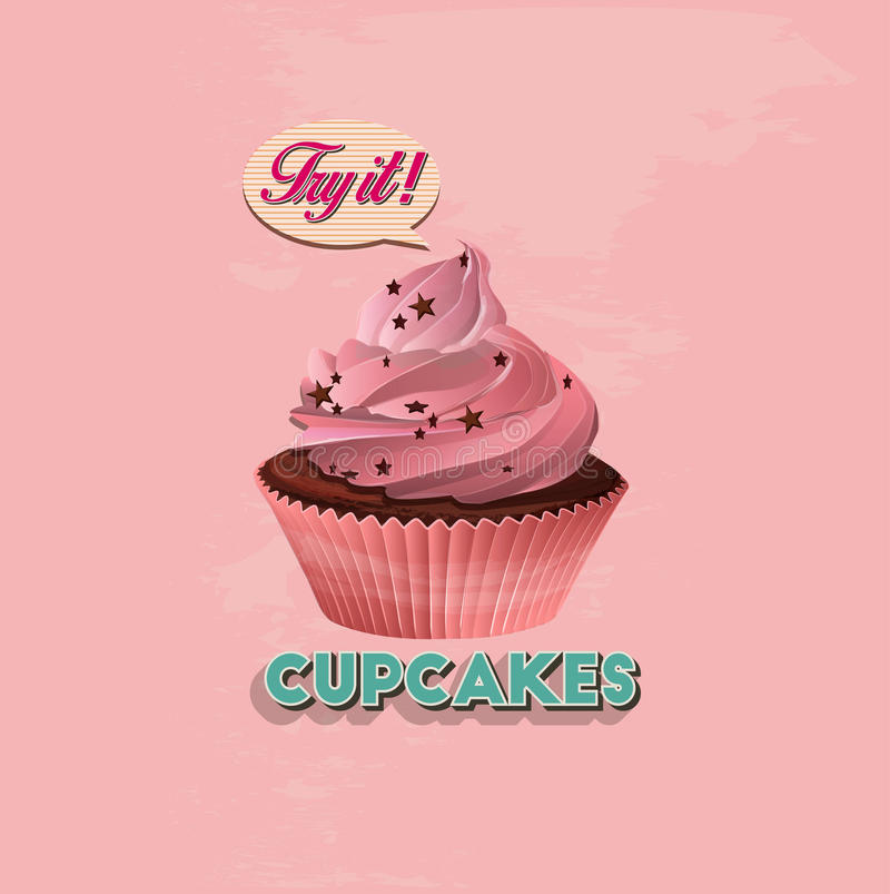 Cupcake with candles vector illustration