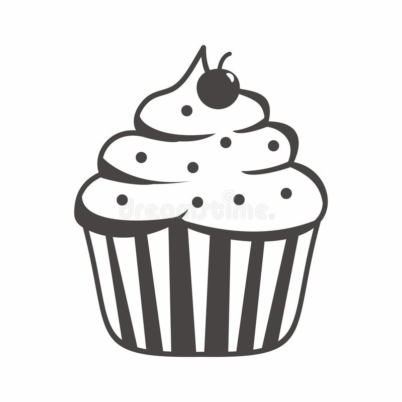 Cupcake cartoon illustration with black and white color. Cute cupcake vector isolated on white background, cupcake vector with black and white color vector illustration