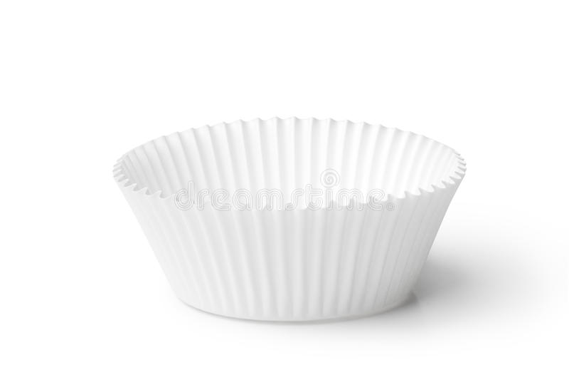 Cupcake case. Empty cupcake case isolated on white background royalty free stock photos