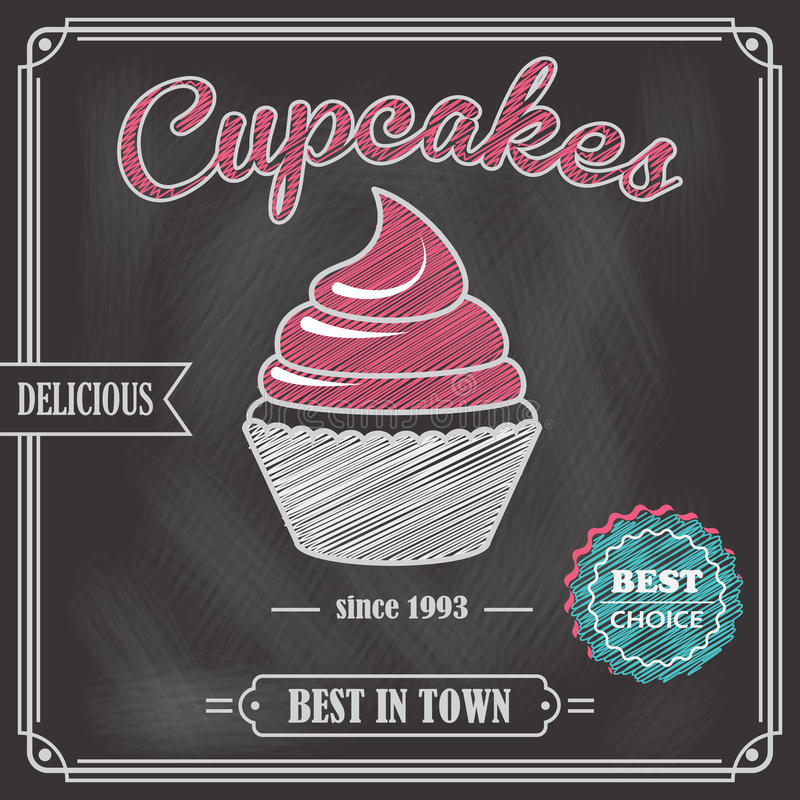 Cupcake chalkboard poster vector illustration