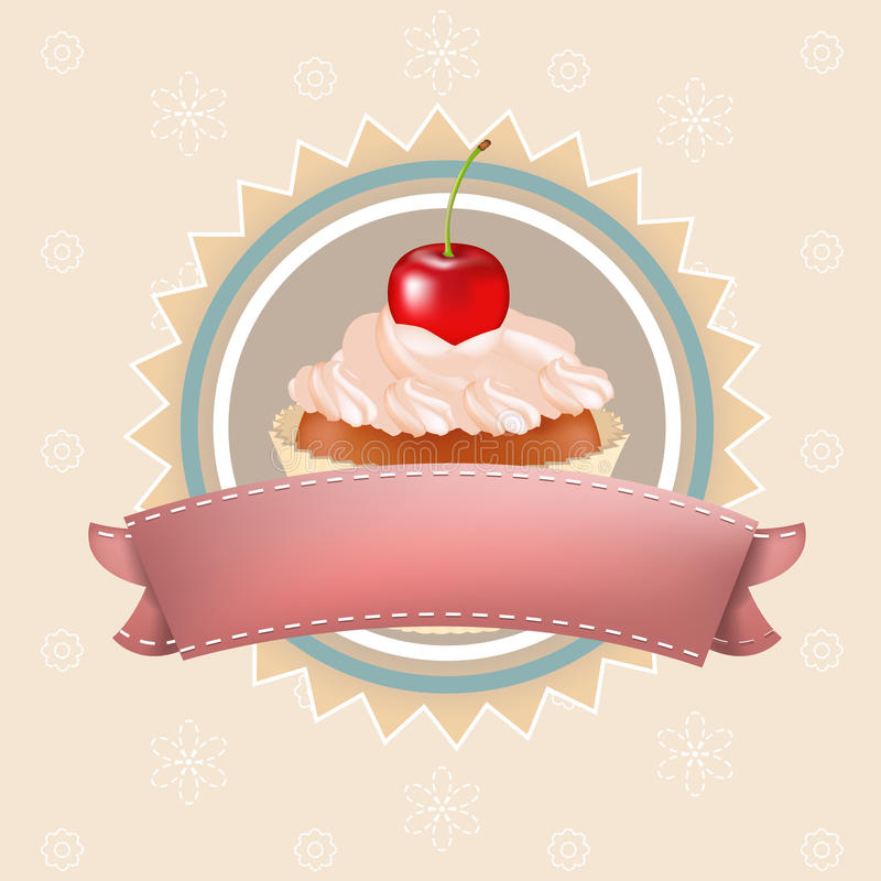 Download Cupcake With Cherry stock vector. Image of against, frosting - 21115328