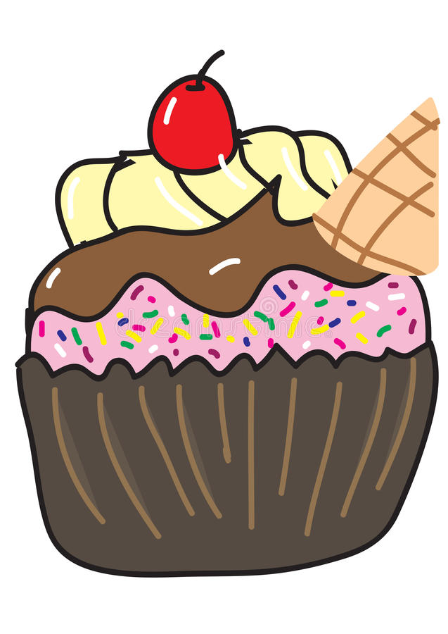 Cupcake with cherry royalty free stock images