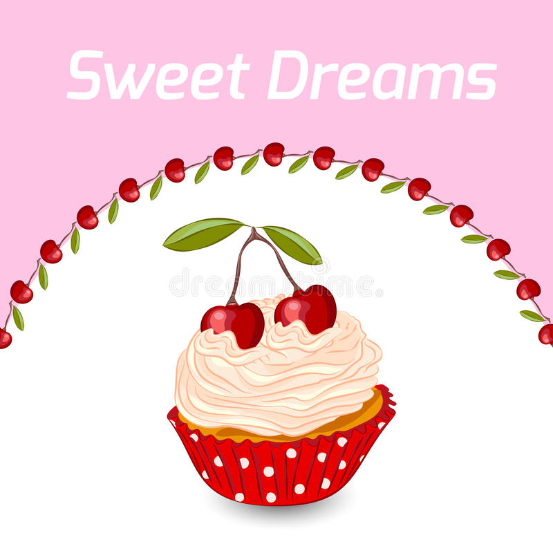 Cupcake and cherry greeting card template royalty free stock image