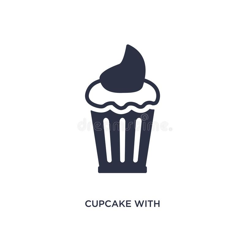 cupcake with cherry icon on white background. Simple element illustration from bistro and restaurant concept royalty free illustration