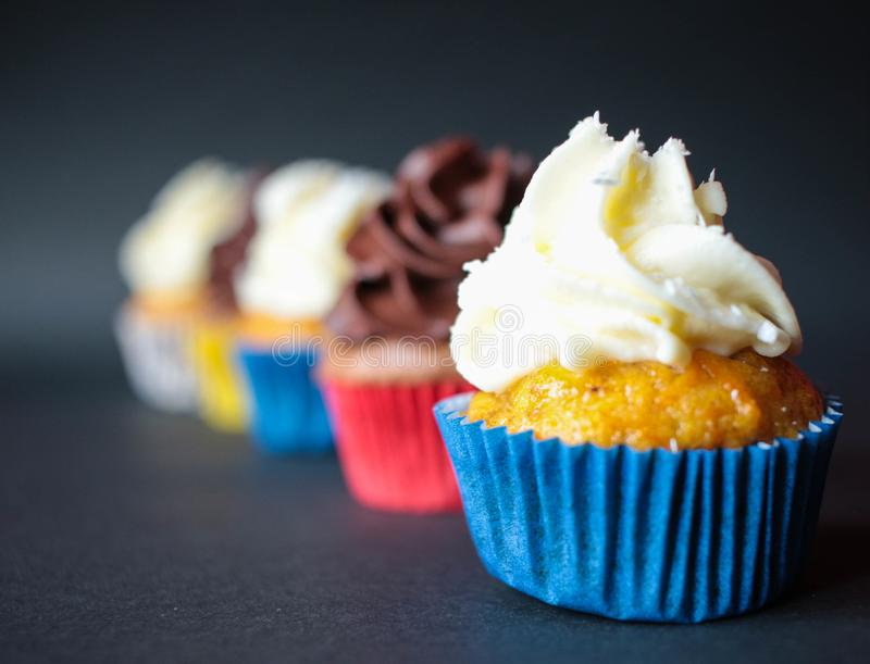 Cupcake with chocolate and vanilla made at home stock image