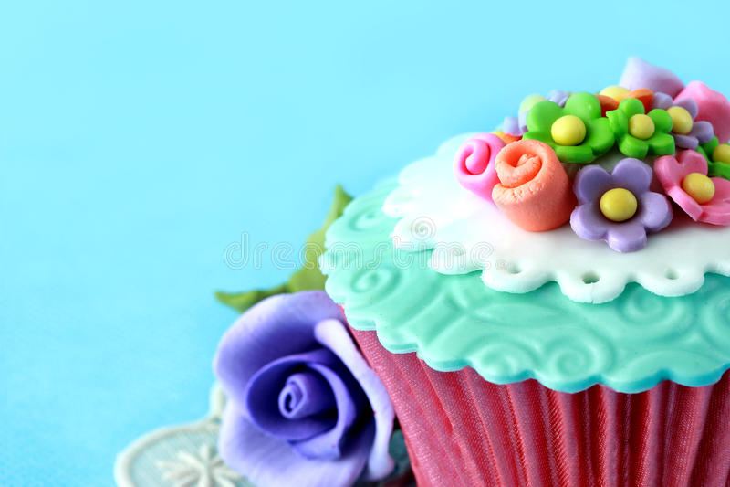 Cupcake. Close up of a beautiful colorful cupcake stock photo