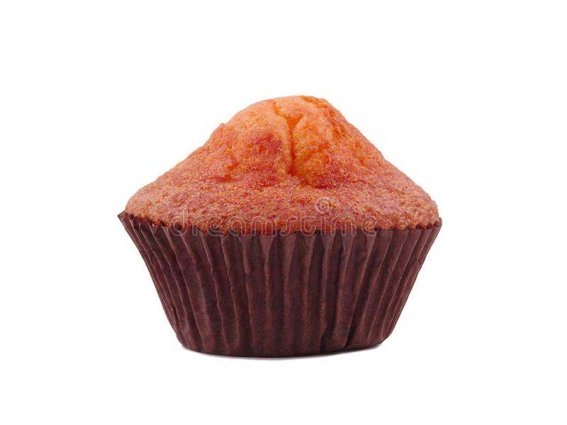 Cupcake close-up. Side view on white isolated background royalty free stock images