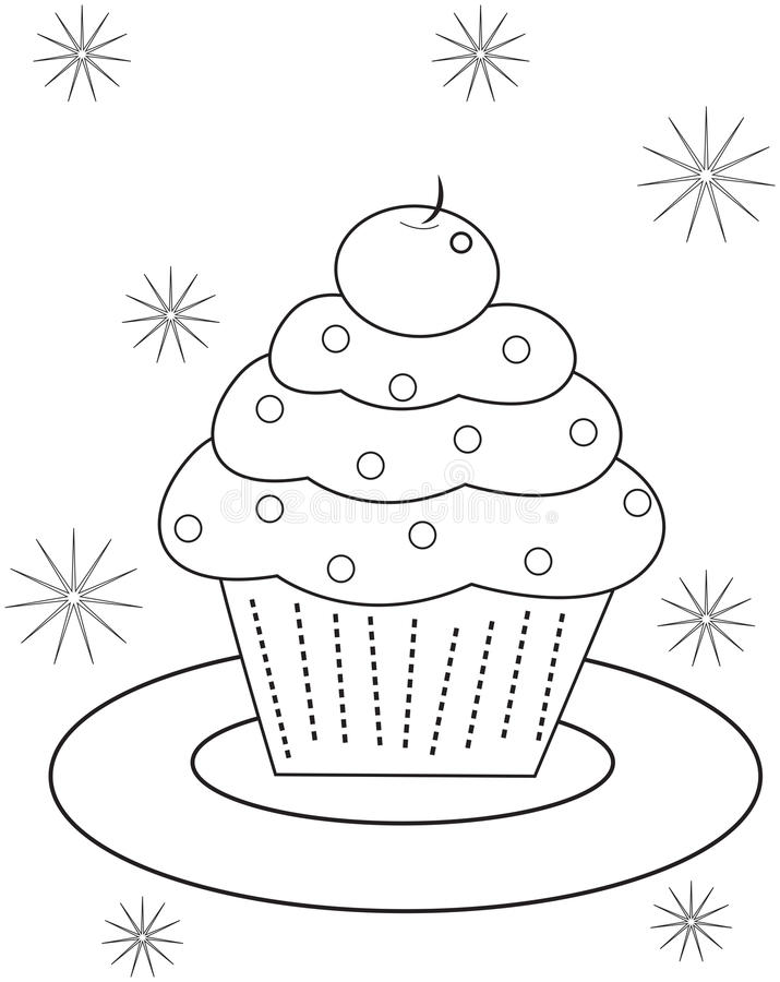 cupcake coloring page useful as book kids