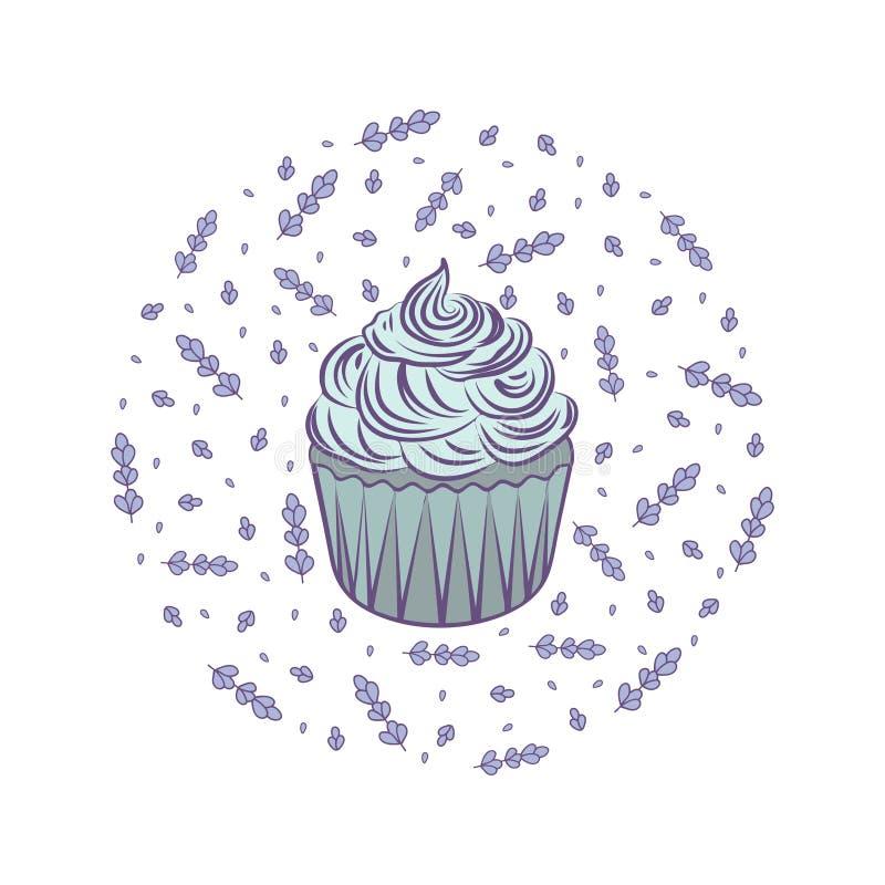 Cupcake com lavanda ilustração stock