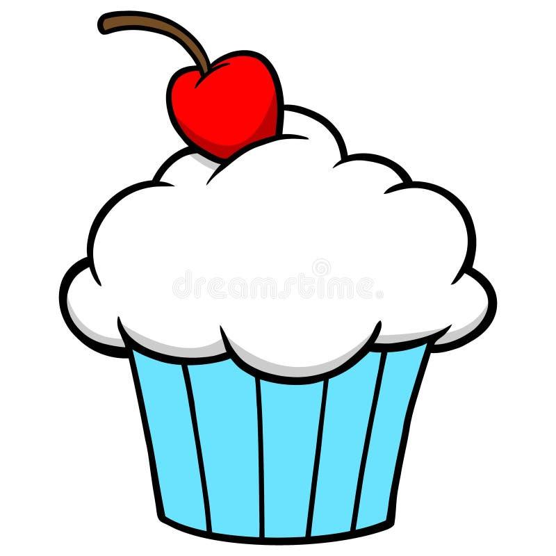 Cupcake con Cherry in cima illustrazione vettoriale