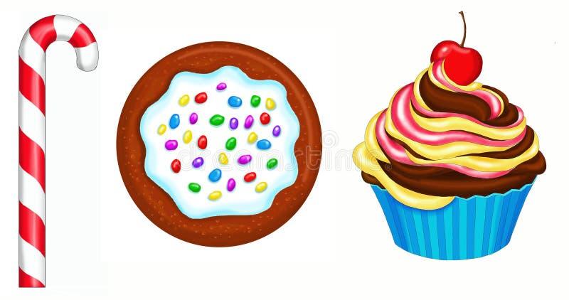 Cupcake, cookie, Candy cane stock photos