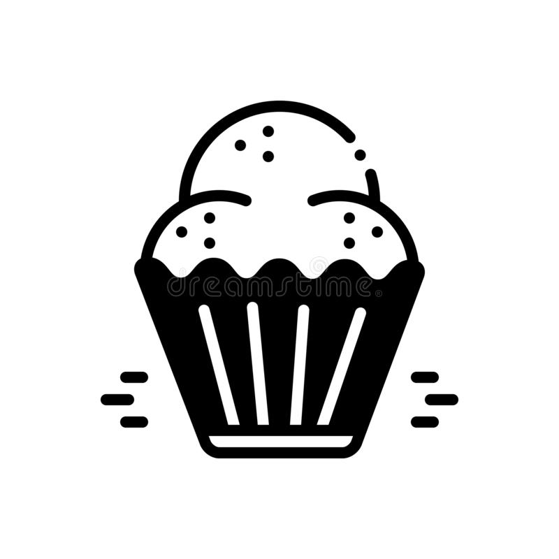 Black solid icon for Cupcake, cookies and muffins. Black solid icon for Cupcake, cake, donut, food,  cookies and muffins stock illustration
