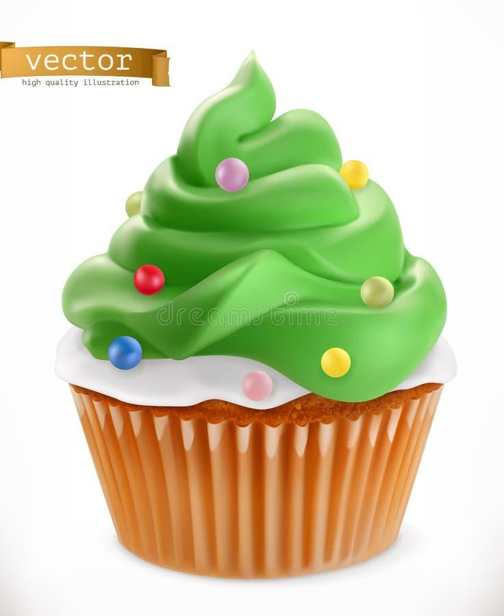 cupcake Décorations de Noël, icône du vecteur 3d illustration libre de droits