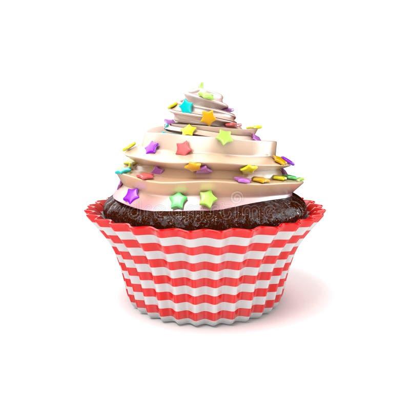 cupcake 3d rendem ilustração do vetor