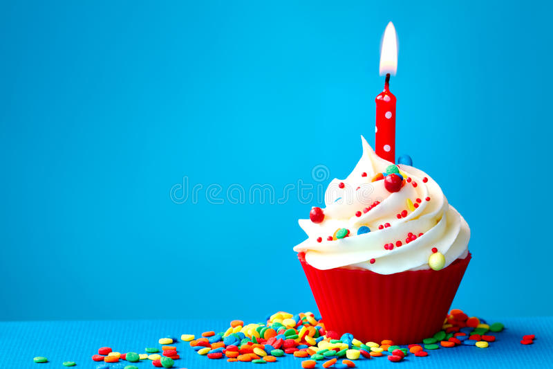 Download Birthday cupcake stock photo. Image of sprinkles, candle - 30089226