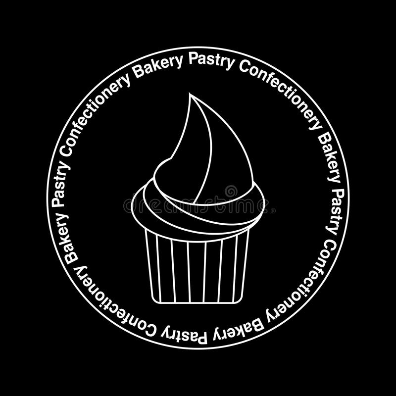 Cupcake emblem, logo white on black, thin lines desighn. Circle shape. Text Bakery Confectionery Rastry in a circle. Desighn for logotype, sticker, banner royalty free illustration