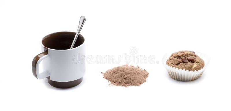Cupcake en cofee royalty-vrije stock afbeelding