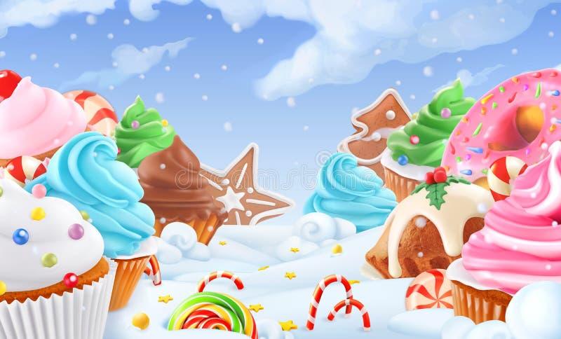 Cupcake, feecake De winter zoet landschap De achtergrond van Kerstmis 3d vector stock illustratie