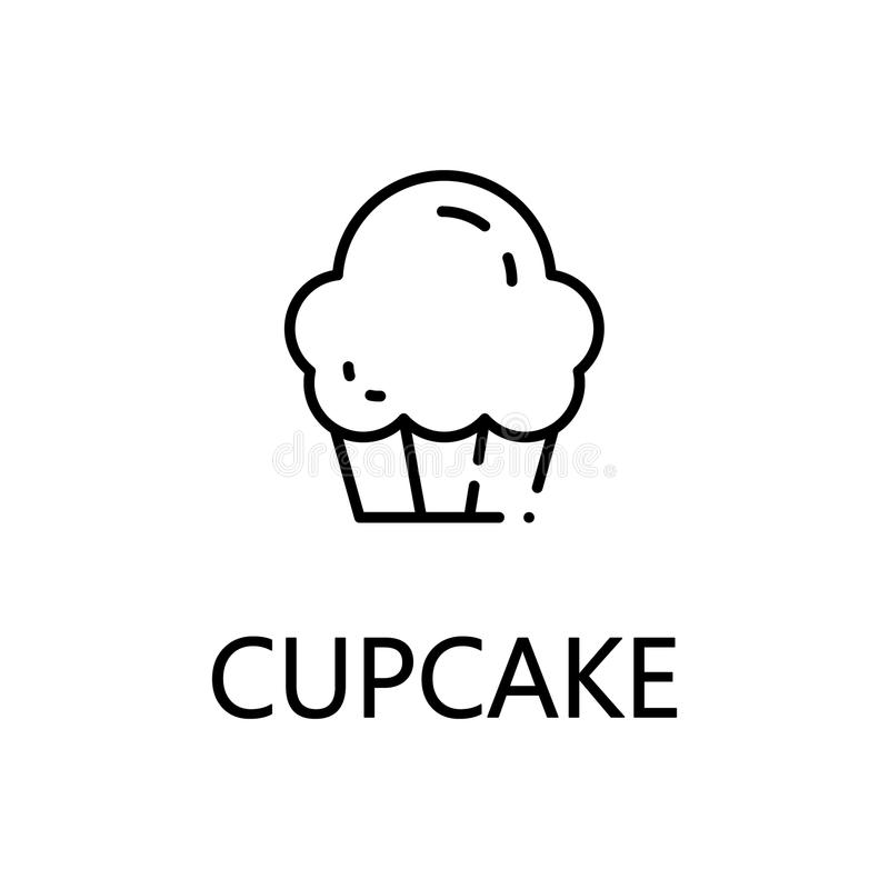 Cupcake flat icon or logo for web design. Cupcake flat icon. Single high quality outline symbol of sweets for web design or mobile app. Thin line signs of stock illustration