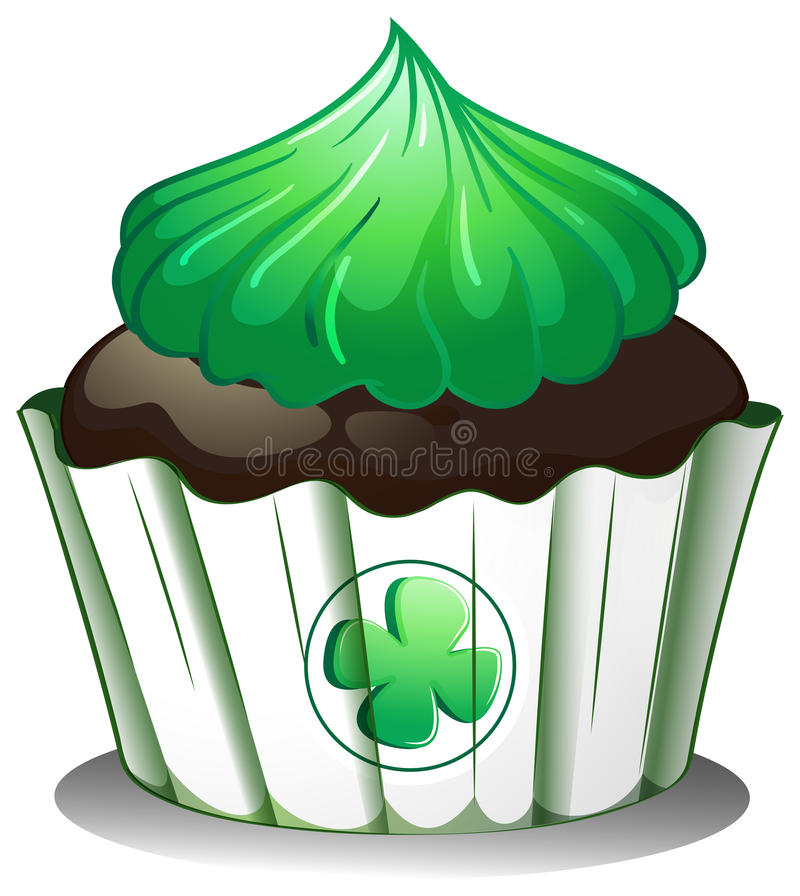A Cupcake With A Green Icing Stock Photography