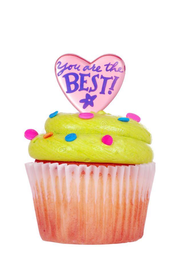 Download Cupcake With Green Icing And Message Stock Image - Image: 25080021
