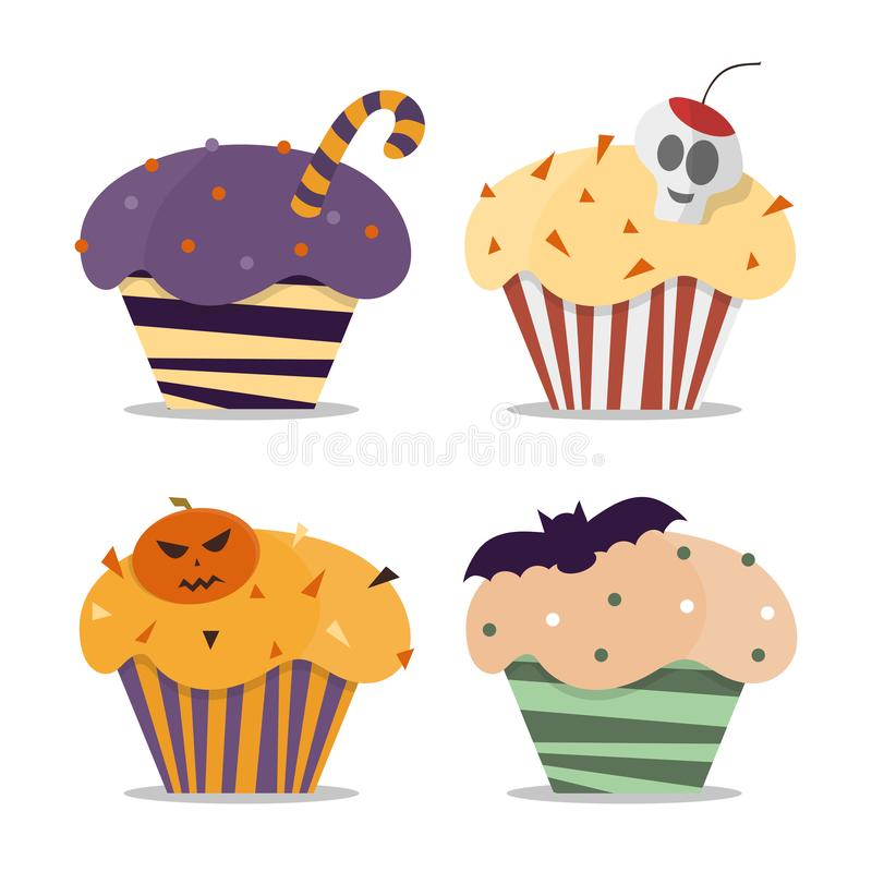 Cupcake happy halloween scary sweets. Vector cupcakes dessert food pumpkin party. Cupcake happy halloween scary sweets. Halloween vector cupcakes. Trick or treat vector illustration