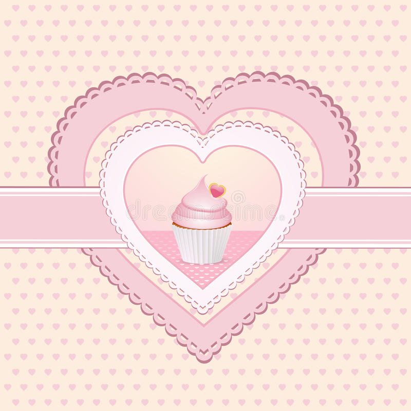 Cupcake heart label vector illustration