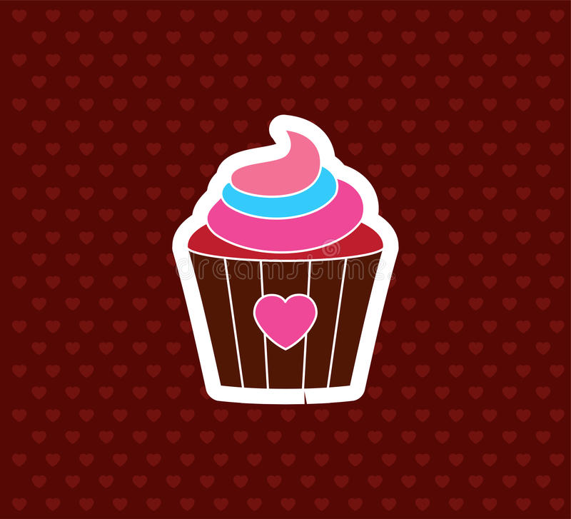 Cupcake with Heart. Valentine`s Day Icon. Love Vector Illustration royalty free illustration