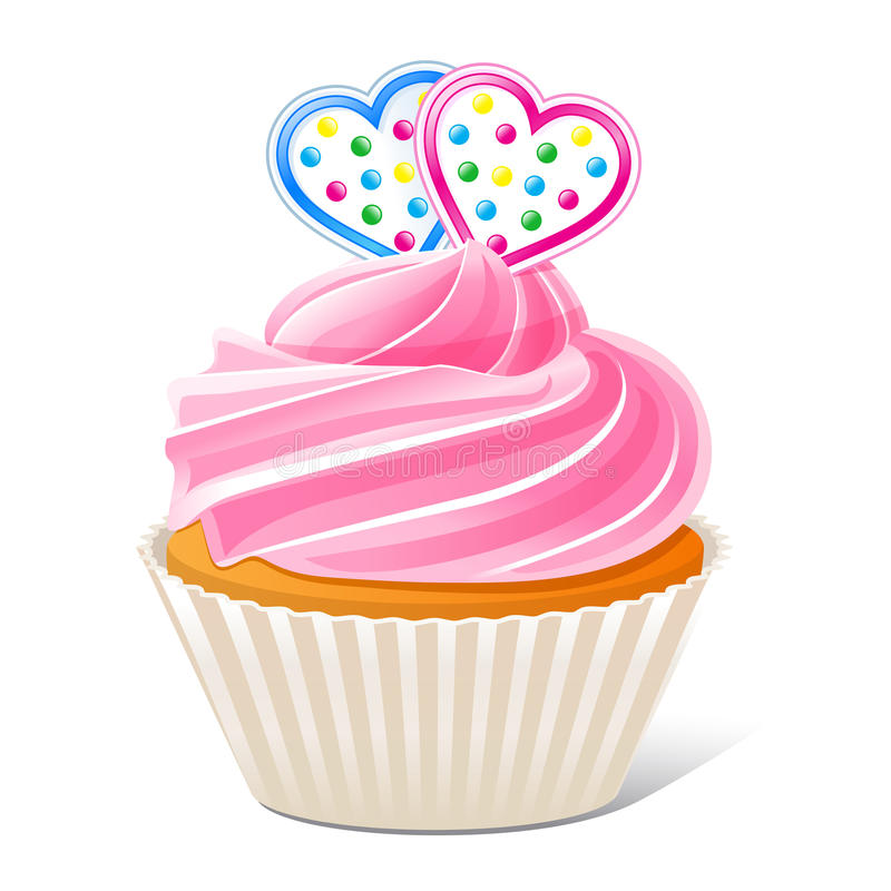 Cupcake With Hearts Stock Images