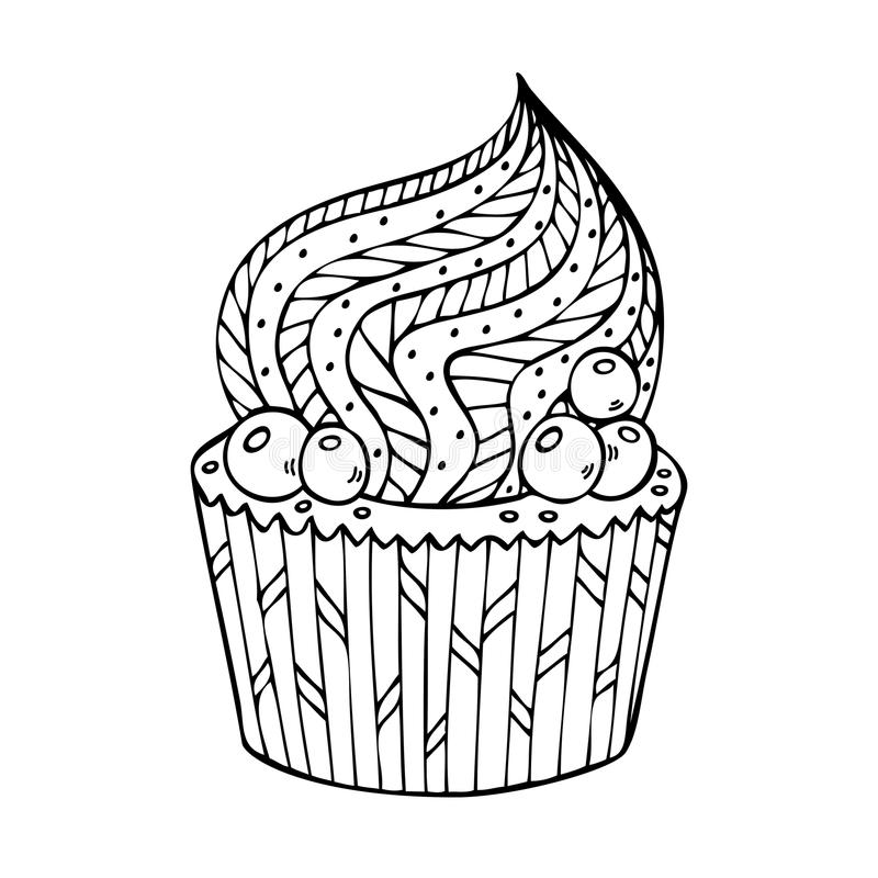 Cupcake het kleuren voor volwassenen royalty-vrije illustratie