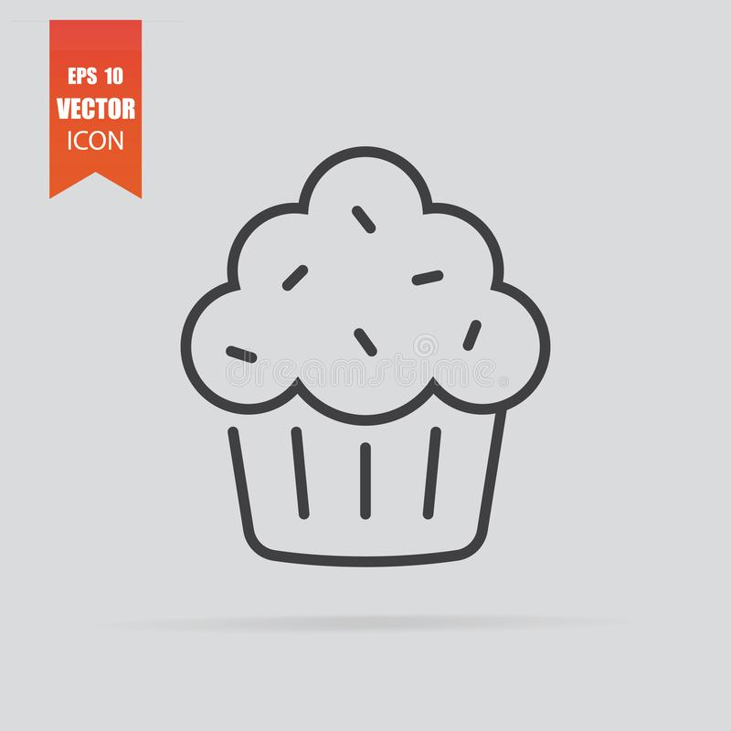 Cupcake icon in flat style isolated on grey background vector illustration