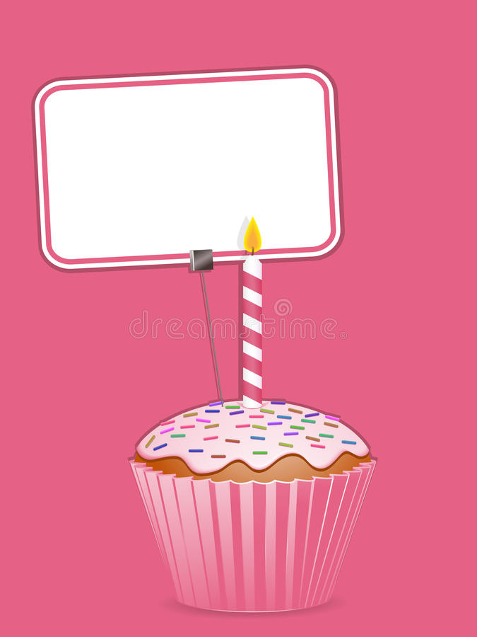 Cupcake and label vector illustration