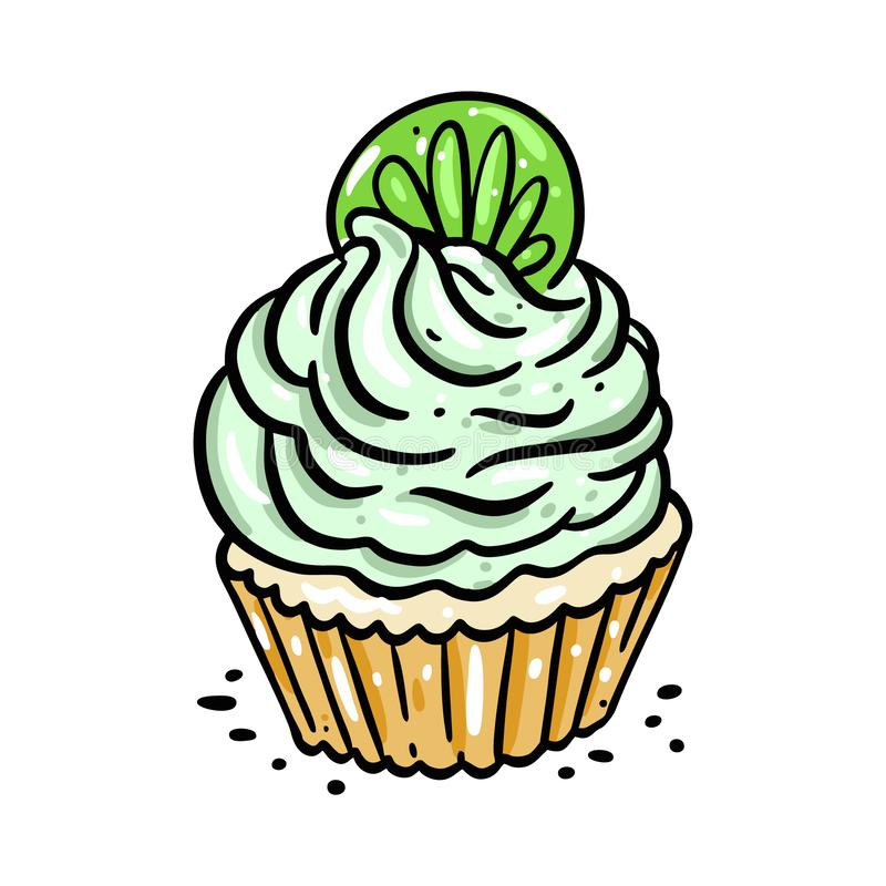 Cupcake with lime slice hand drawn vector illustration. Isolated on white background. Cartoon style. Design for decor, cards, print, web, poster, banner, t stock illustration