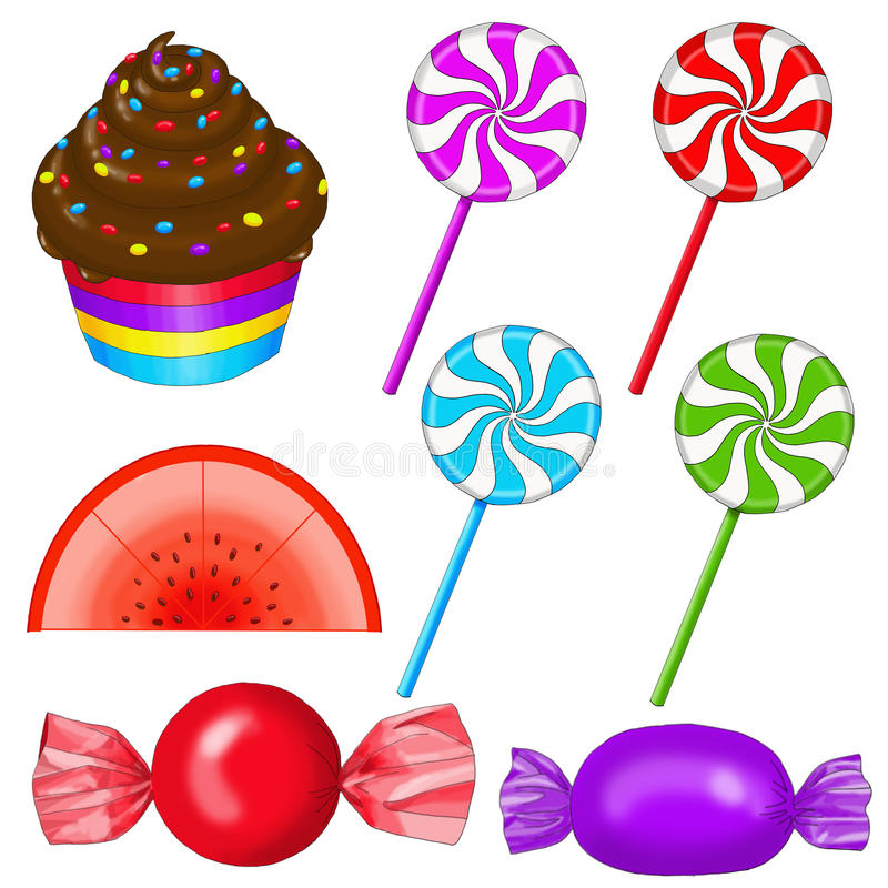 Cupcake, lollipops,Candyslice, candy stock photo