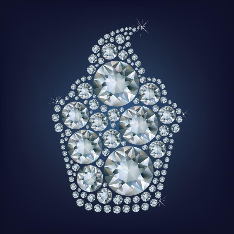 Cupcake maakte omhoog heel wat diamanten royalty-vrije illustratie