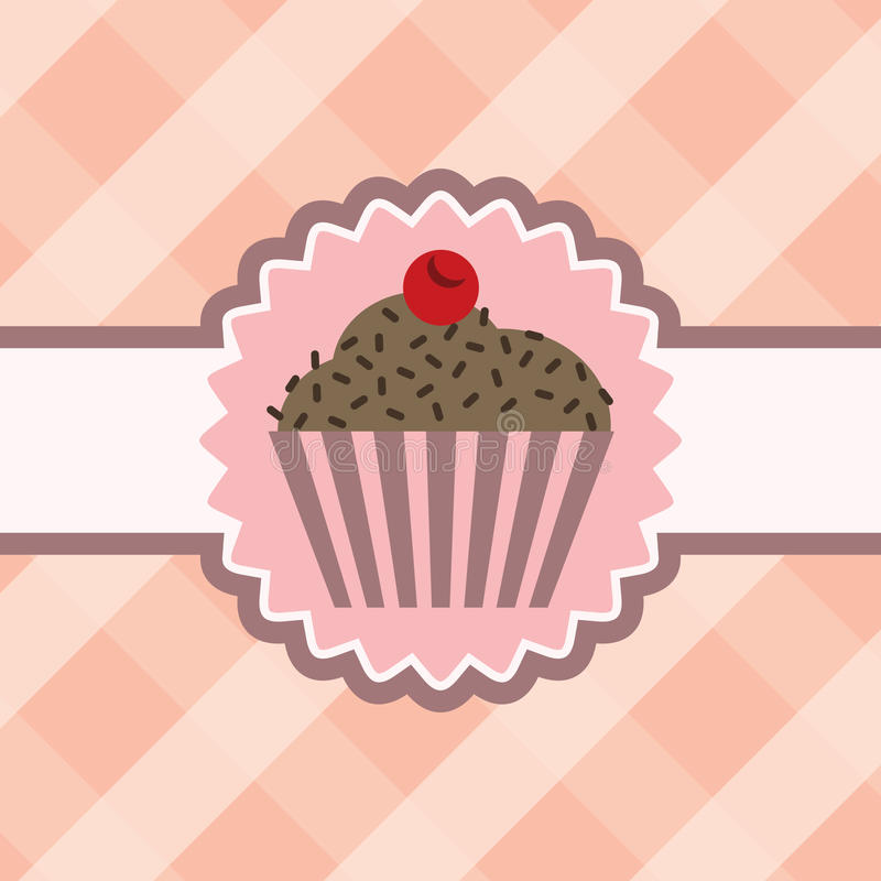 Cupcake met chocolade op lijstdoek royalty-vrije illustratie